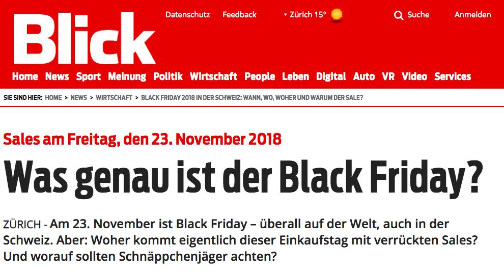 AUCH DIE PRESSE SPRICHT ÜBER DEN BLACK FRIDAY 2018